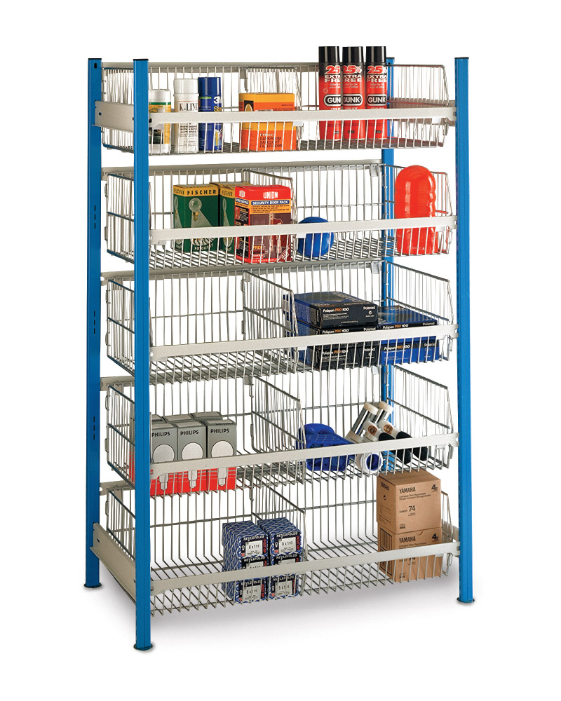 shelving unit with integrated wire storage baskets. Black Bedroom Furniture Sets. Home Design Ideas