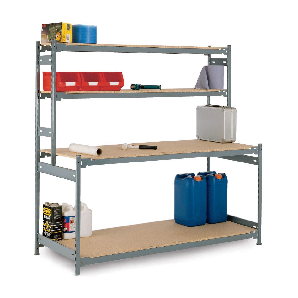 Heavy Duty Industrial Workstation|Workbench With Upper Shelves