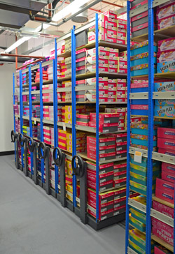 Rolling Racks For Shoe Stock Storage By EZR Shelving