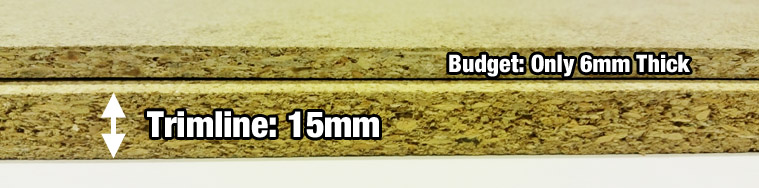 View the difference in chipboard thickness
