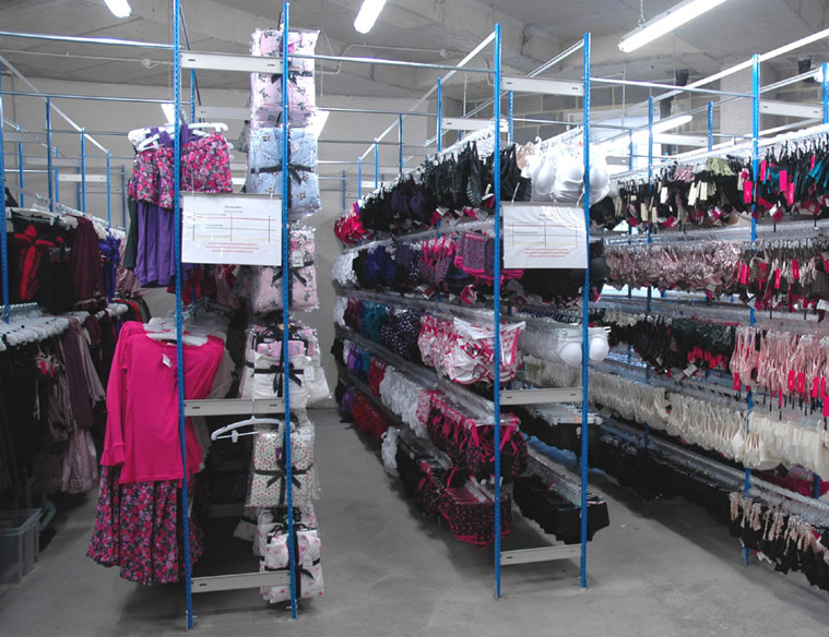 Garment Racking With Aisle-Ties & Floor Fixings