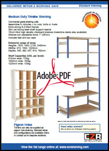 Trimline Shelving Information Sheet
