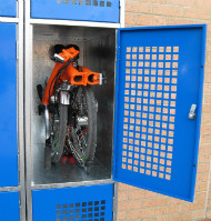 Brompton bike inside a locker