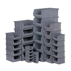 Grey plastic storage bins