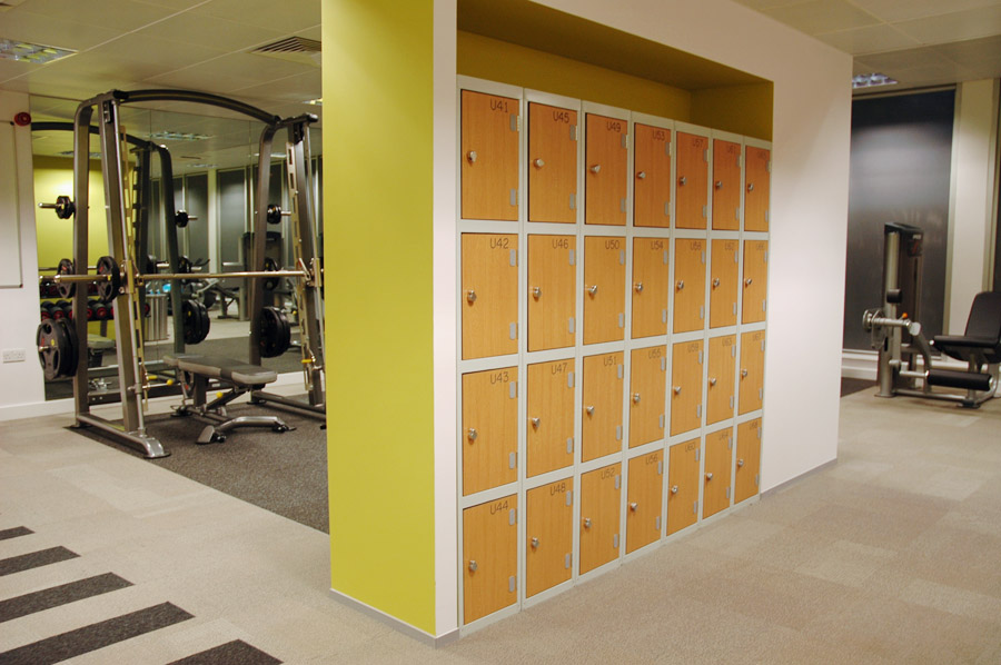 Gym lockers with laminated trespa doors supplied by ezr shelving