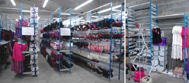 Lingerie Racking System With Steam Rail