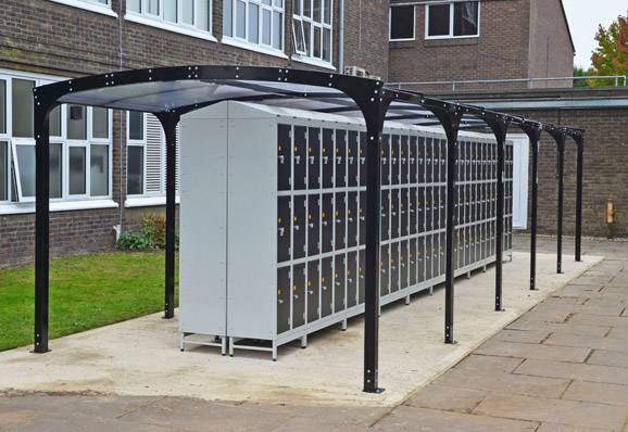 Outdoor school lockers with canopy by EZR Shelving
