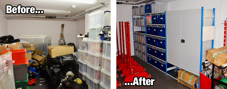 Before and after photos of the St Mary's sports storage room
