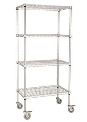 Chrome Shelving Unit On Wheels