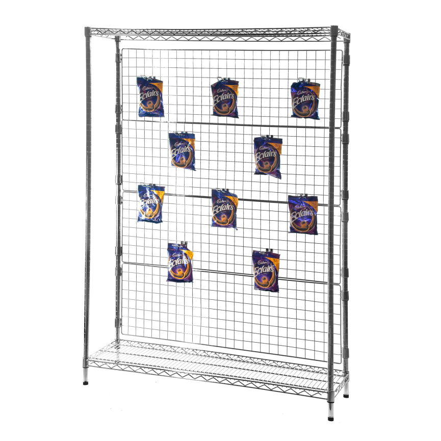 Chrome Shelving Mesh Back Display Unit