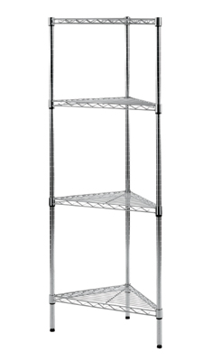 Eclipse Chrome Wire Corner Shelving Unit