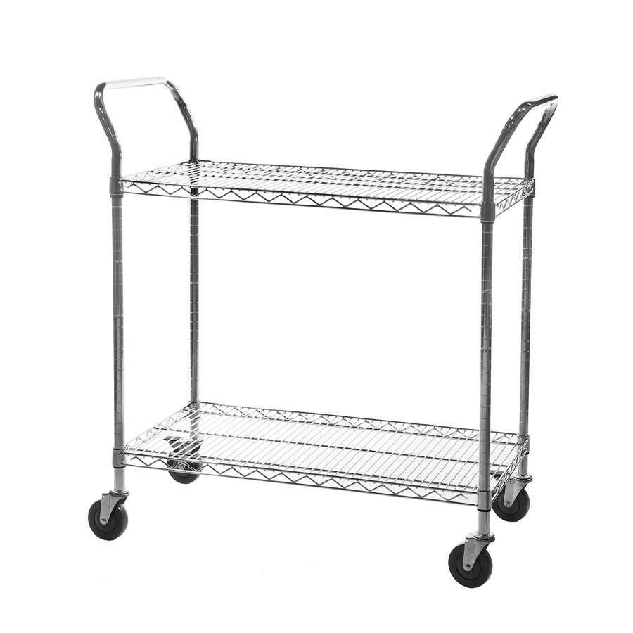 Chrome Wire Shelving Trolley - 2 Tier