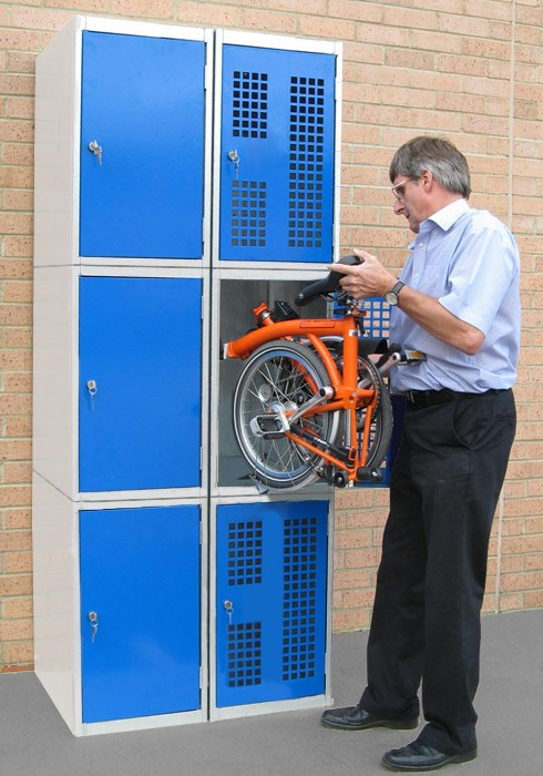 Folding Bike Lockers - 3 Tier
