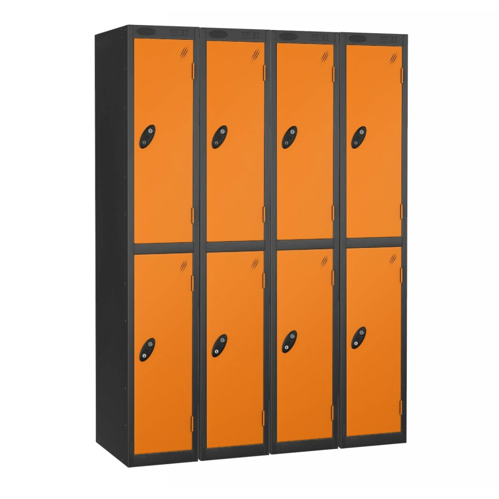 Black/Orange 2 Door Storage Lockers Pack of 4
