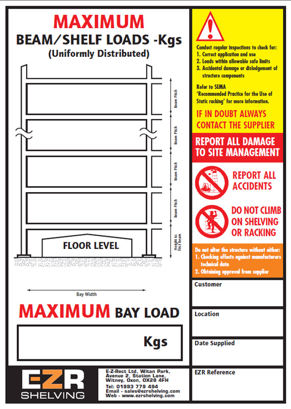 Pallet Racking Signs Cosmecol