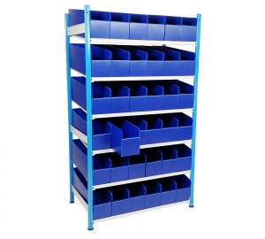 Lipped Edge Steel Shelving With Plastic K-Bins
