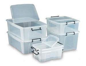 Storemaster Plastic Boxes With Hinged Lid (Pack of 10)