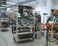 Bike Assembly Shelving In Factory