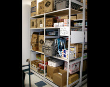 Stockroom shelving for grocery and general store products