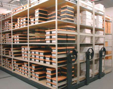 Retailers can save space by using EZR stockroom roller racking