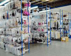Warehouse storage racks for lingerie