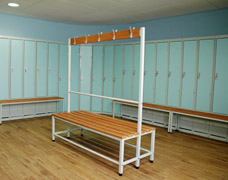 Changing room lockers with bench seats