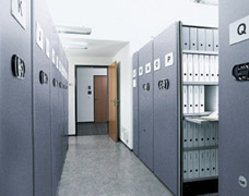 Electrically operated mobile shelving bays