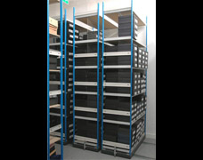 Wheeled shelving on tracks