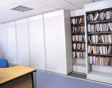 Side rolling shelving units