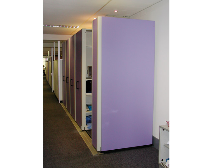 compact office shelving unit. Mobile Office Shelving With Purple Coloured Panels Compact Unit