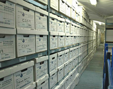 Storage for records stored in archive boxes