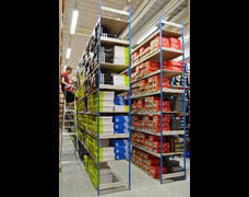 EZR Trimline Shoe Racking In A Retail Stockroom