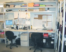 Prep benches and workstations within shelving bays