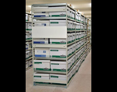 Document boxes stored on EZR Trimline archive box shelving