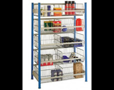 Shelving with wire basket levels